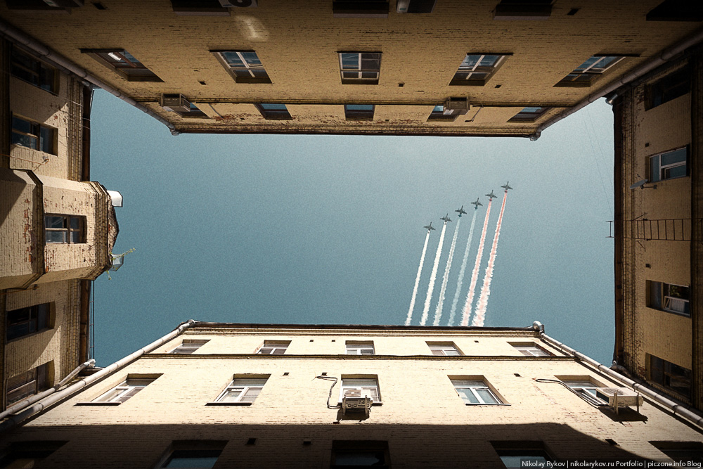 Пролет авиации в Москве на 9 мая. Парад Победы.