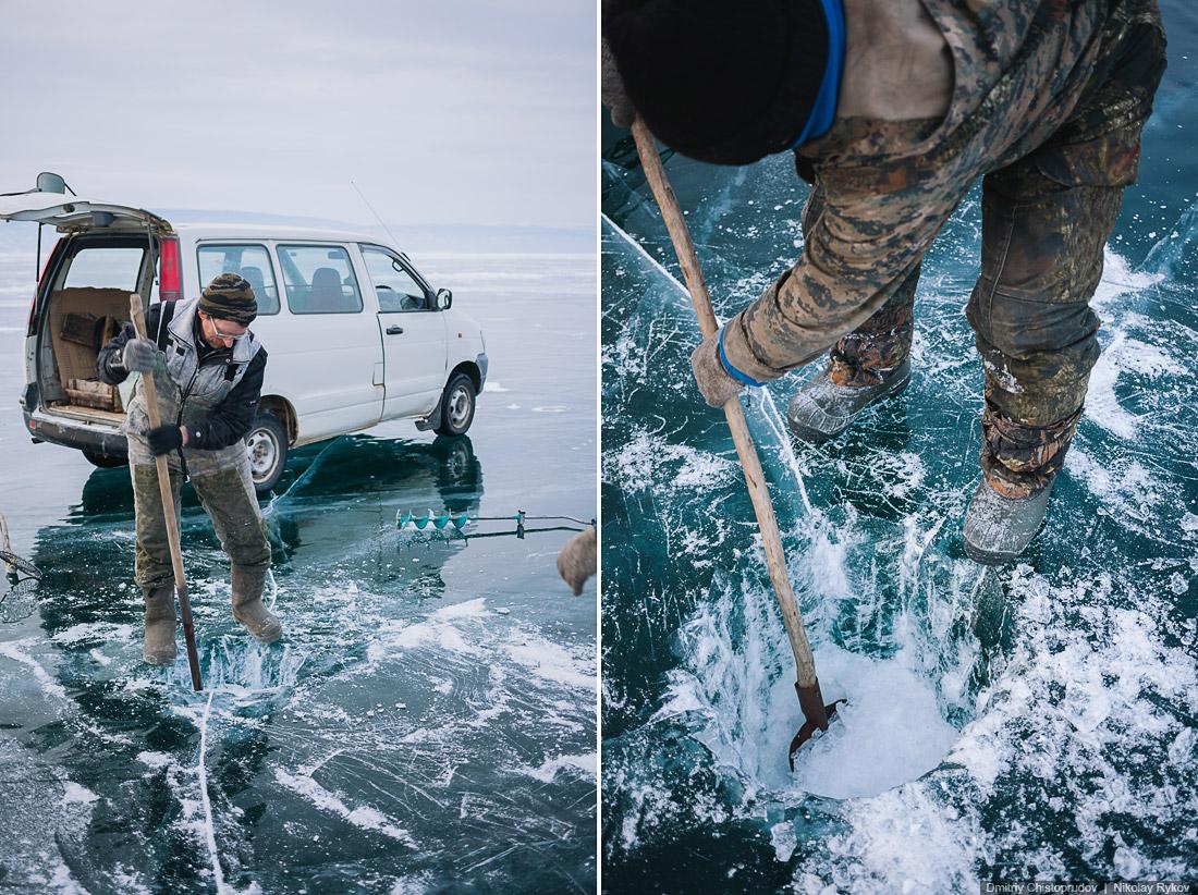 Ночная фотосъёмка автомобиля на льду — путешествие по Байкалу на Шевроле Круз